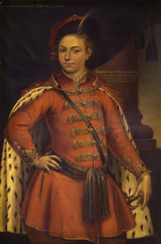 Unknown man, formerly known as Prince Charles Edward Stuart by Unknown artist - National Portrait Gallery, London - Bonnie Prince Charlie in Polish kontusz with a sabre