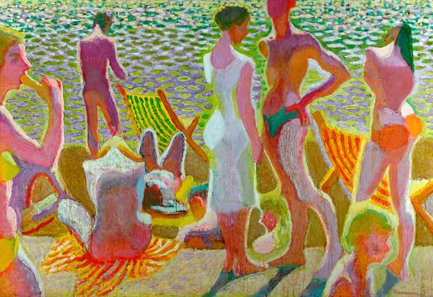 Bathers in Sunlight by Zdzislaw Ruszkowski 1978 - Collection of Scarborough Museums and Gallery -   www.bbc.co.uk/arts/yourpaintings/