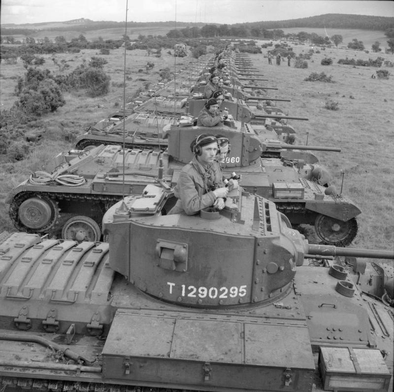 Valentine Mark III tanks of the 16th Tank Brigade (1st Polish Corps) lined up during an exercise in Scotland. Photograph taken during General Alan Brooke's visit to the Scottish Command  - Imperial War Museum www.iwm.org.uk